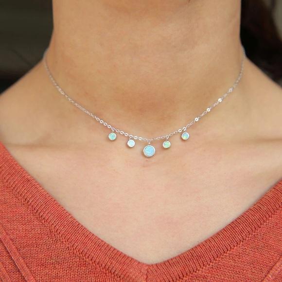 Sterling Silver Choker Silver Choker Silver and Opal Choker Opal Minimal Silver Necklace Valentines Opal Choker Opal Choker Necklace